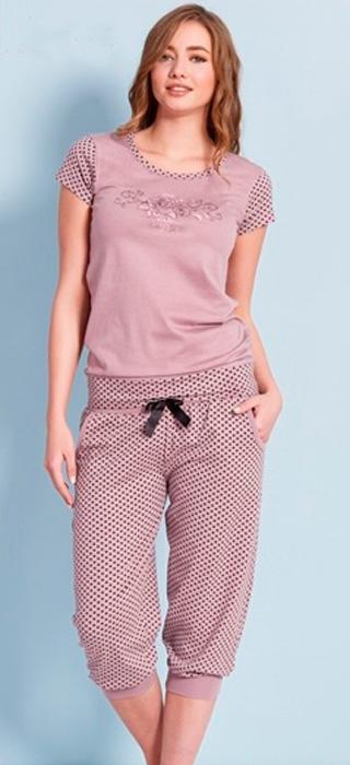 Комплект домашний женский Vienettas Secret Горох: капри, футболка, цвет: светло-сливовый. 701009 0244. Размер XL (50)701009 0244