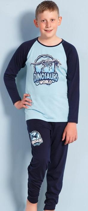 Комплект домашний для мальчика Vienettas Secret Dinosaurs World: брюки, лонгслив, цвет: светло-бирюзовый. 703121 0000. Размер 110/116, 5-6 лет703121 0000Комплект домашний для мальчика Vienettas Secret изготовлен из натурального хлопка с ярким принтом, состоящий из брюк и лонгслива, идеально подойдет вашему маленькому принцу. Предметы комплекта очень мягкие на ощупь, не раздражают даже самую нежную и чувствительную кожу ребенка и хорошо вентилируются.