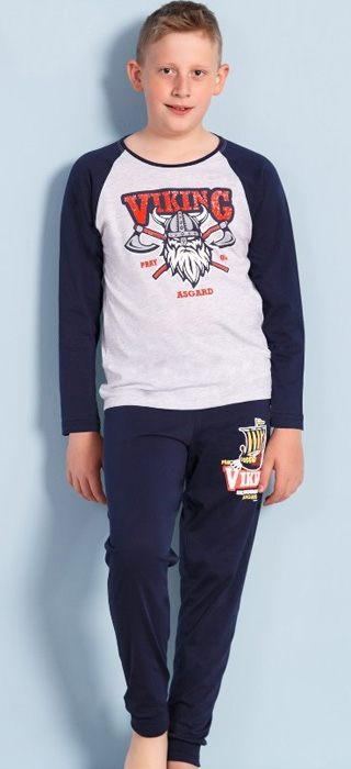 Комплект домашний для мальчика Vienetta's Secret Viking: брюки, лонгслив, цвет: серый меланж. 703123 0000. Размер 134/140, 9-10 лет, Одежда для мальчиков  - купить со скидкой