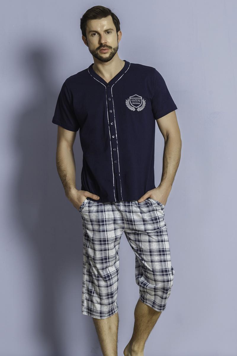 Комплект домашний мужской Vienettas Secret: капри, футболка, цвет: темно-синий. 209026 2423. Размер M (46)209026 2423