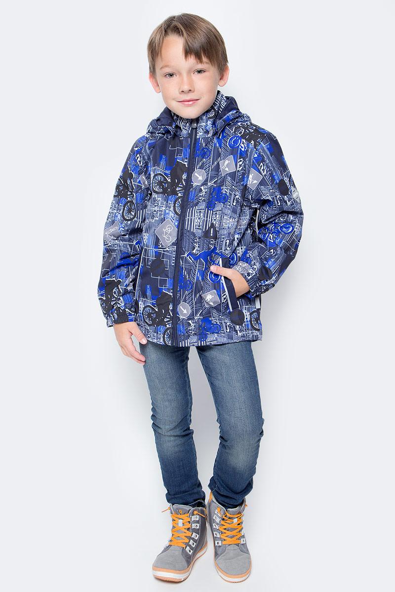 Куртка для мальчика Huppa Jody, цвет: темно-синий, синий, серый. 17000004-72286. Размер 11017000004-72286Куртка с подкладкой для мальчика Huppa c длинными рукавами, воротником-стойкой и съемным капюшоном, выполнена из высококачественного водонепроницаемого и ветрозащитного материала на основе полиэстера. Модель застегивается на застежку-молнию с защитой подбородка спереди. Изделие имеет два прорезных кармана на застежках-молниях. Манжеты рукавов собраны на внутренние резинки. Модель оформлена оригинальным контрастным принтом. На изделии имеются светоотражательные элементы для безопасности в темное время суток.