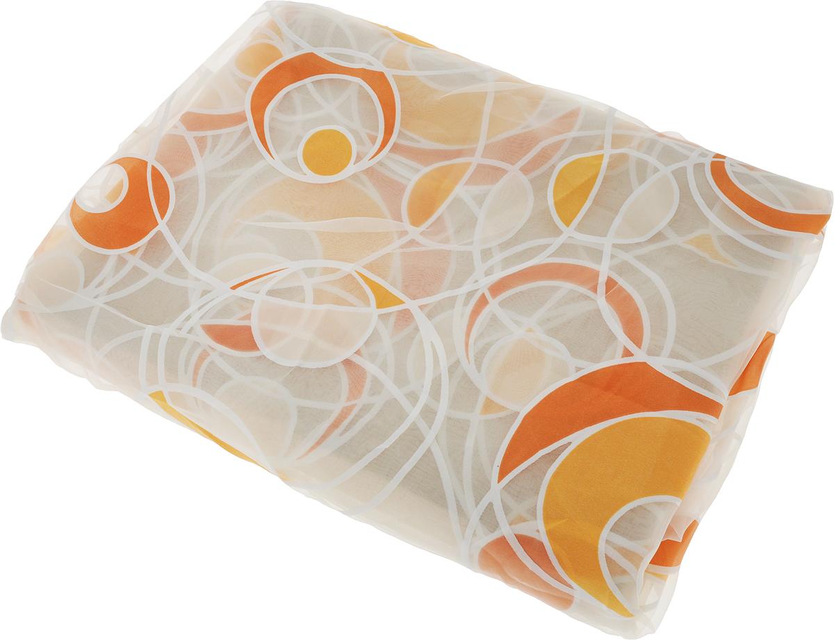 Штора для кухни Garden, на ленте, цвет: оранжевый, высота 180 смС 5125 - W260 V3_оранжевыйШтора тюлевая для кухни Garden выполнена из тонкой полупрозрачной органзы (полиэстера) и украшена абстрактным узором в виде окружностей. Легкая текстура материала и нежная цветовая гамма привлекут к себе внимание и станут великолепным украшением любого окна. Она добавит уюта и послужит прекрасным дополнением к интерьеру кухни.Изделие оснащено шторной лентой для красивой сборки.
