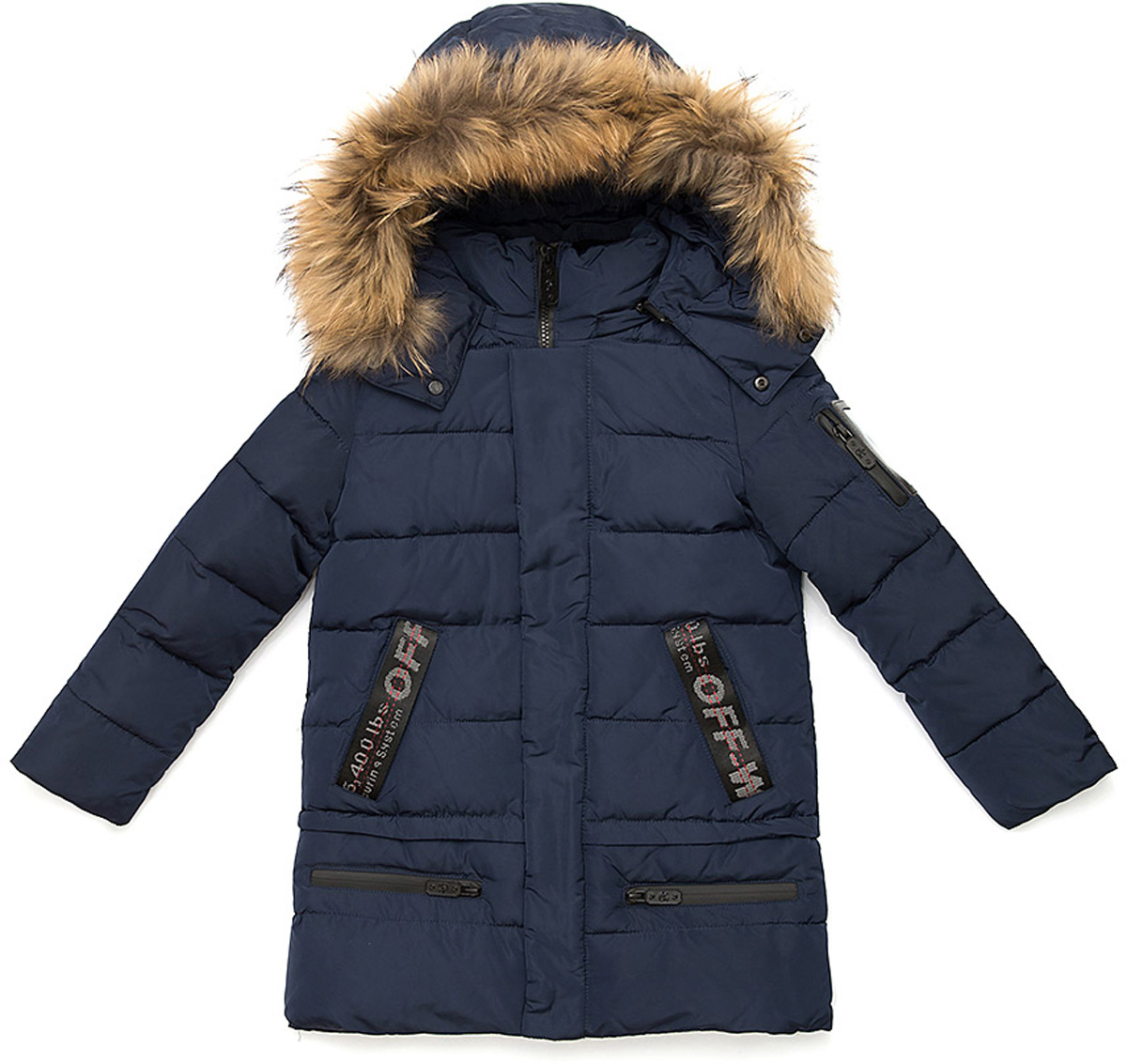 Куртка для мальчика Vitacci, цвет: синий. 1171477-04. Размер 1161171477-04Куртка для мальчика удлиненная. Капюшон съемный, отделка из натурального меха. Декоративные элементы на рукавах и карманах. Подкладка дополнительно утеплена флисом. Наполнитель БИО ПУХ. Температурный режим от -10°С до -25°С