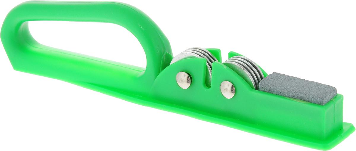 Ножеточка Доляна Острое лезвие, цвет: зеленый, 20 х 3 х 4,5 см651913_зеленыйНожеточка Доляна Острое лезвие, выполненная из пластика иметалла, пользуется огромной популярностью средипрофессиональных шеф-поваров и просто любителейкулинарии. Благодаря эргономично спроектированной ручке,ее очень удобно держать в руке, а также подвергатьпрофессиональной заточке. Тщательно продуманнаяконструкция обеспечивает удобство и легкость виспользовании.