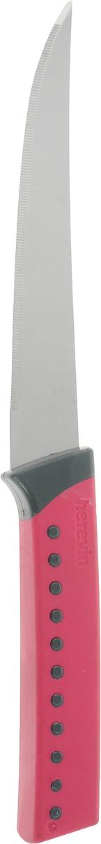 """Нож для овощей """"Heverin"""" станет практичным приобретением для кухни. Лезвие ножа выполнено из нержавеющей стали и имеет серрейторную заточку, которая позволяет легко нарезать овощи и фрукты с мягкой сердцевиной, например, помидоры, а также хлеб. Рукоятка выполнена из пластика с приятным на ощупь прорезиненным покрытием. Эргономичный дизайн обеспечивает надежный хват и комфорт во время резки.  Длина ножа: 24,5 см."""