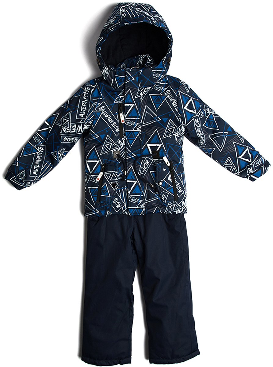 Комплект верхней одежды для мальчика Vitacci: брюки, куртка, цвет: синий. 1171492-04. Размер 1221171492-04Комплект для мальчика Vitacci включает в себя куртку и брюки. Куртка с длинными рукавами и капюшоном выполнена из нейлона и оформлена ярким принтом. Капюшон на куртке съемный. Подкладка изготовлена из полиамида и дополнительно утеплена флисом по спинке. В качестве наполнителя используется синтепон. Модель имеет внешнюю ветрозащитную планку. Спереди на брюках расположены карманы.Температурный режим от -5°С до -10°С.