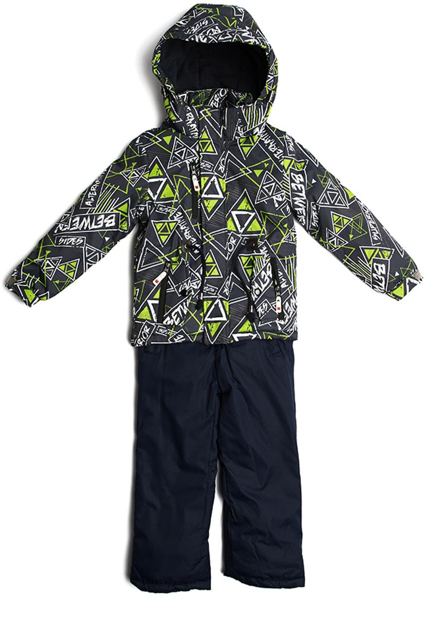 Комплект верхней одежды для мальчика Vitacci: брюки, куртка, цвет: зеленый. 1171492-06. Размер 1281171492-06Комплект для мальчика Vitacci включает в себя куртку и брюки. Куртка с длинными рукавами и капюшоном выполнена из нейлона и оформлена ярким принтом. Капюшон на куртке съемный. Подкладка изготовлена из полиамида и дополнительно утеплена флисом по спинке. В качестве наполнителя используется синтепон. Модель имеет внешнюю ветрозащитную планку. Спереди на брюках расположены карманы.Температурный режим от -5°С до -10°С.
