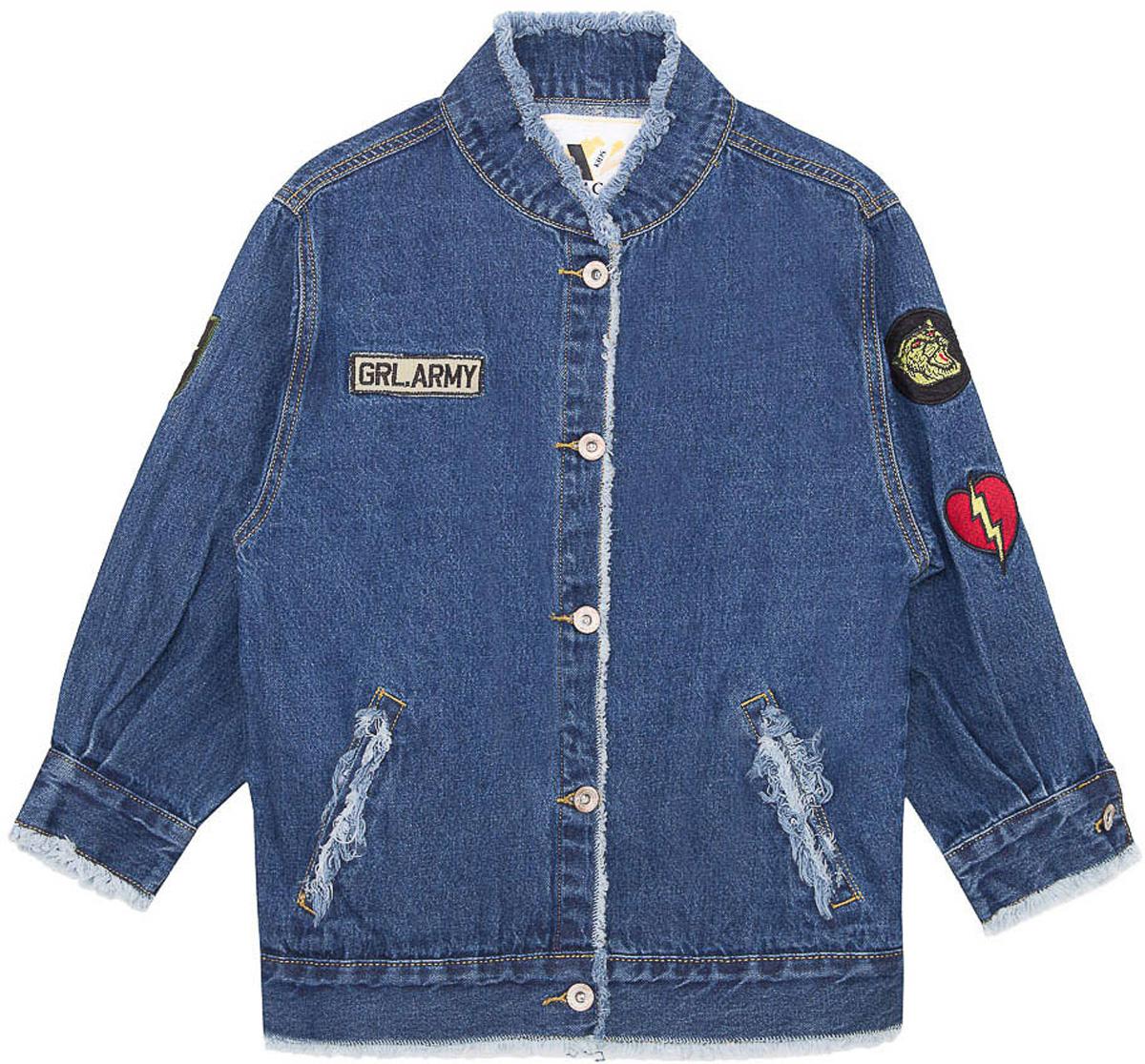 Куртка для девочки Vitacci, цвет: синий. 2171204-04. Размер 1342171204-04Куртка джинсовая для девочки модного фасона. Декорирована шевронами.