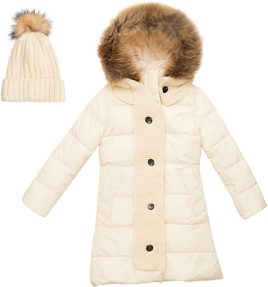 Комплект верхней одежды для девочки Vitacci: куртка, шапка, шарф, цвет: молочный. 2171458-25. Размер 1502171458-25Теплый комплект для девочки Vitacci идеально подойдет для ребенка в холодное время года. Комплект состоит из куртки, шапки и шарфа.Удлиненная куртка, изготовленная из полиэстера, станет стильнымдополнением к детскому гардеробу.Подкладка выполнена из полиэстера и дополнительно утеплена флисом по спинке. В качестве наполнителя используется биопух.Модель застегивается на застежку-молнию и имеет съемный капюшон с отделкой из натурального меха. Спереди расположены два кармана.Шапка с отворотом декорирована на макушке помпоном из натурального меха. Входящий в комплект шарф может служить дополнительно декором к куртке. Температурный режим от -10°С до -25°С.Теплая, удобная и практичная куртка идеально подойдет юной моднице для прогулок!