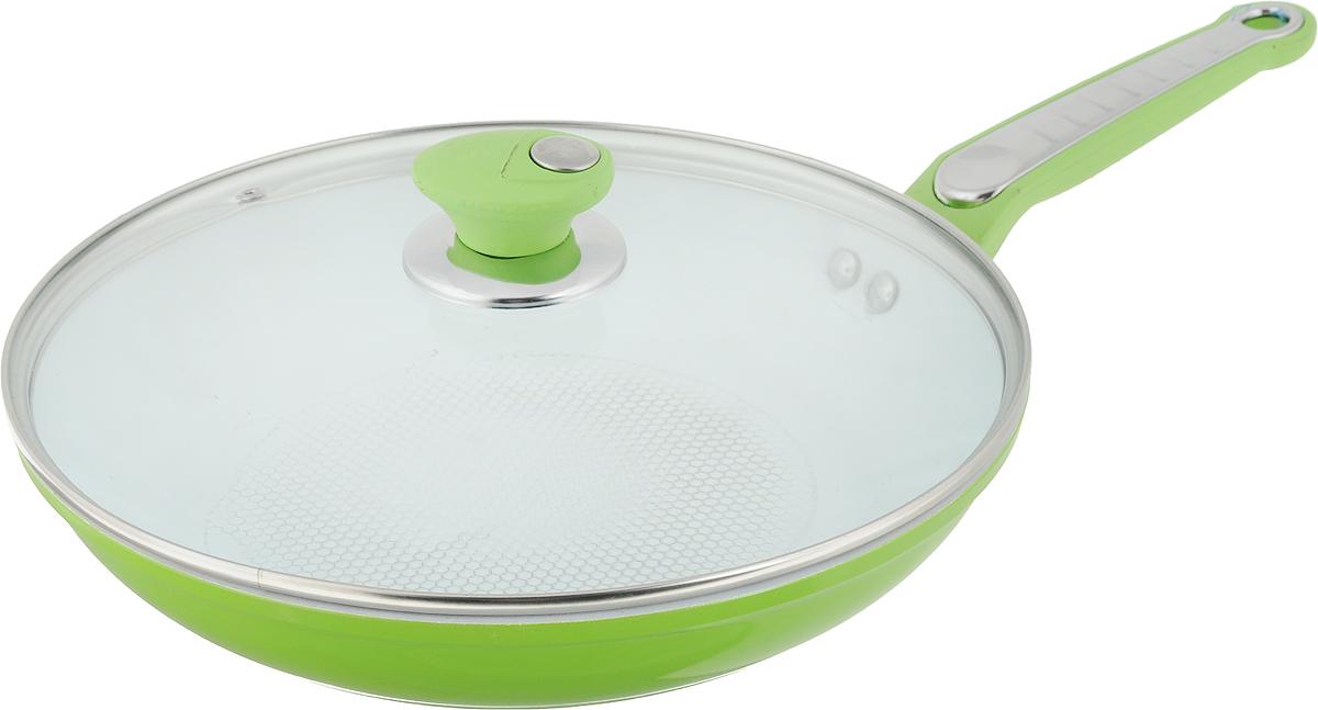 Сковорода  Bohmann  с крышкой, с керамическим покрытием, цвет: салатовый, белый. Диаметр 28 см - Посуда для приготовления
