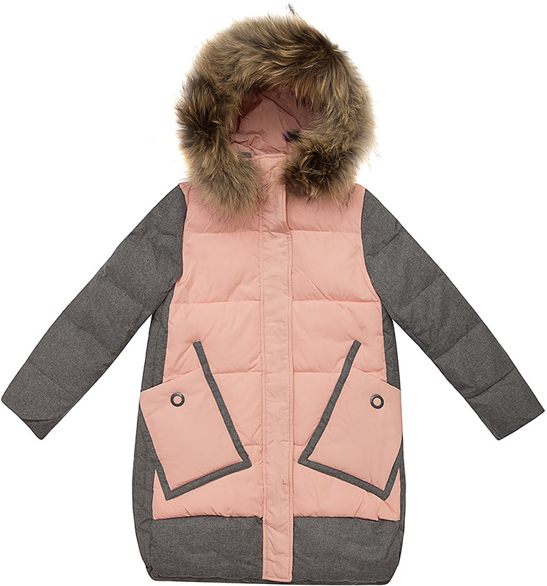 Куртка для девочки Vitacci, цвет: пудровый. 2171461-48. Размер 1302171461-48Куртка для девочки удлиненная. Капюшон съемный, отделка из натурального меха. Подкладка утеплена флисом по спинке. Наполнитель БИО ПУХ. Температурный режим от -10°С до -25°С