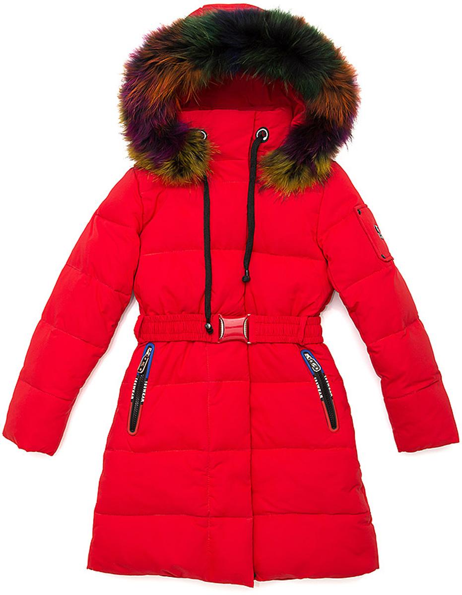 Куртка для девочки Vitacci, цвет: красный. 2171462-05. Размер 1602171462-05Куртка-пальто для девочки удлиненная. Капюшон съемный, отделка из разноцветного натурального меха. Подкладка утеплена флисом по спинке. Наполнитель БИО ПУХ. Температурный режим от -10°С до -25°С