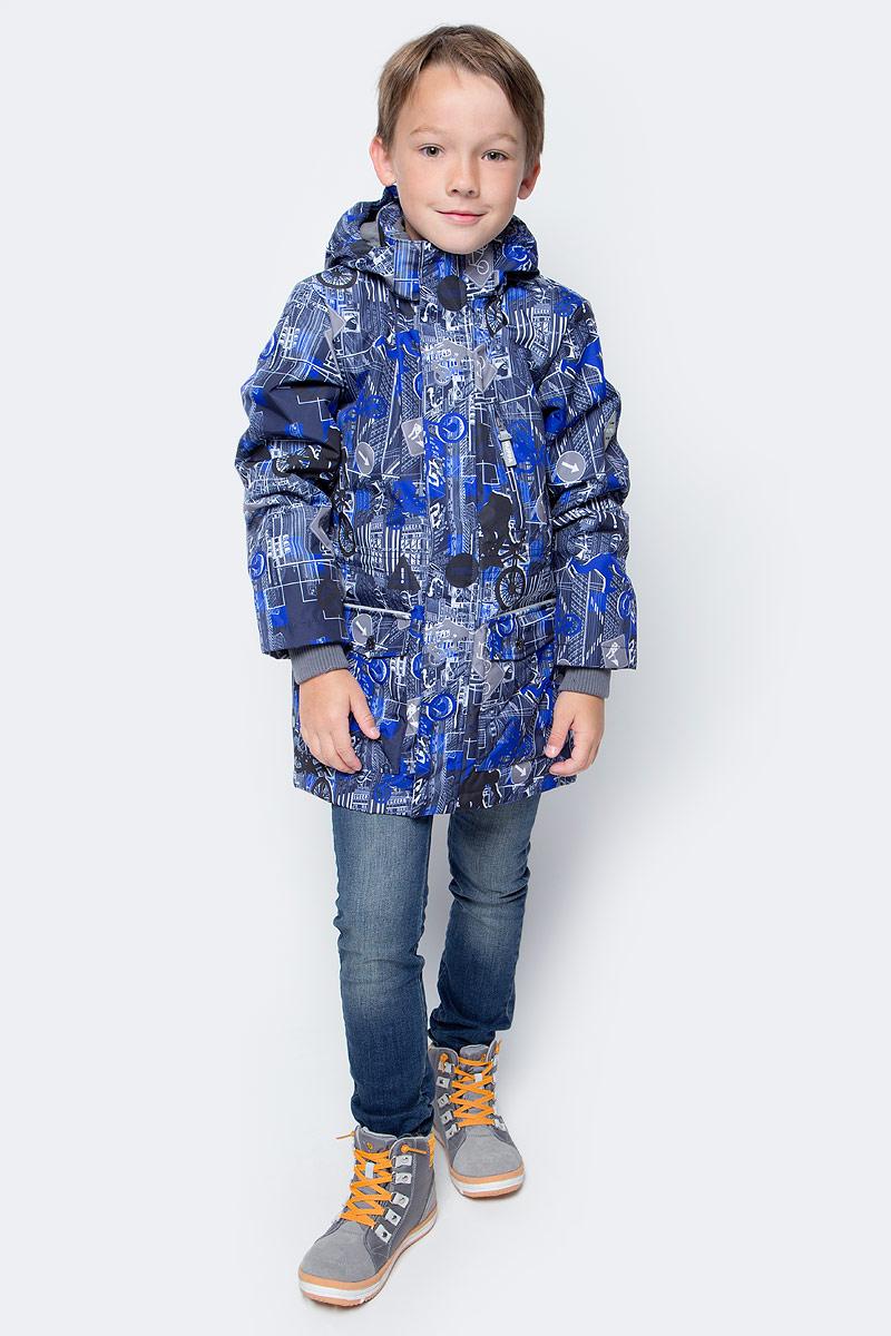 Куртка для мальчика Huppa Rolf, цвет: темно-синий, синий. 17640004-72286. Размер 128 комплект одежды для мальчика huppa avery куртка полукомбинезон цвет синий темно синий 41780030 72535 размер 86