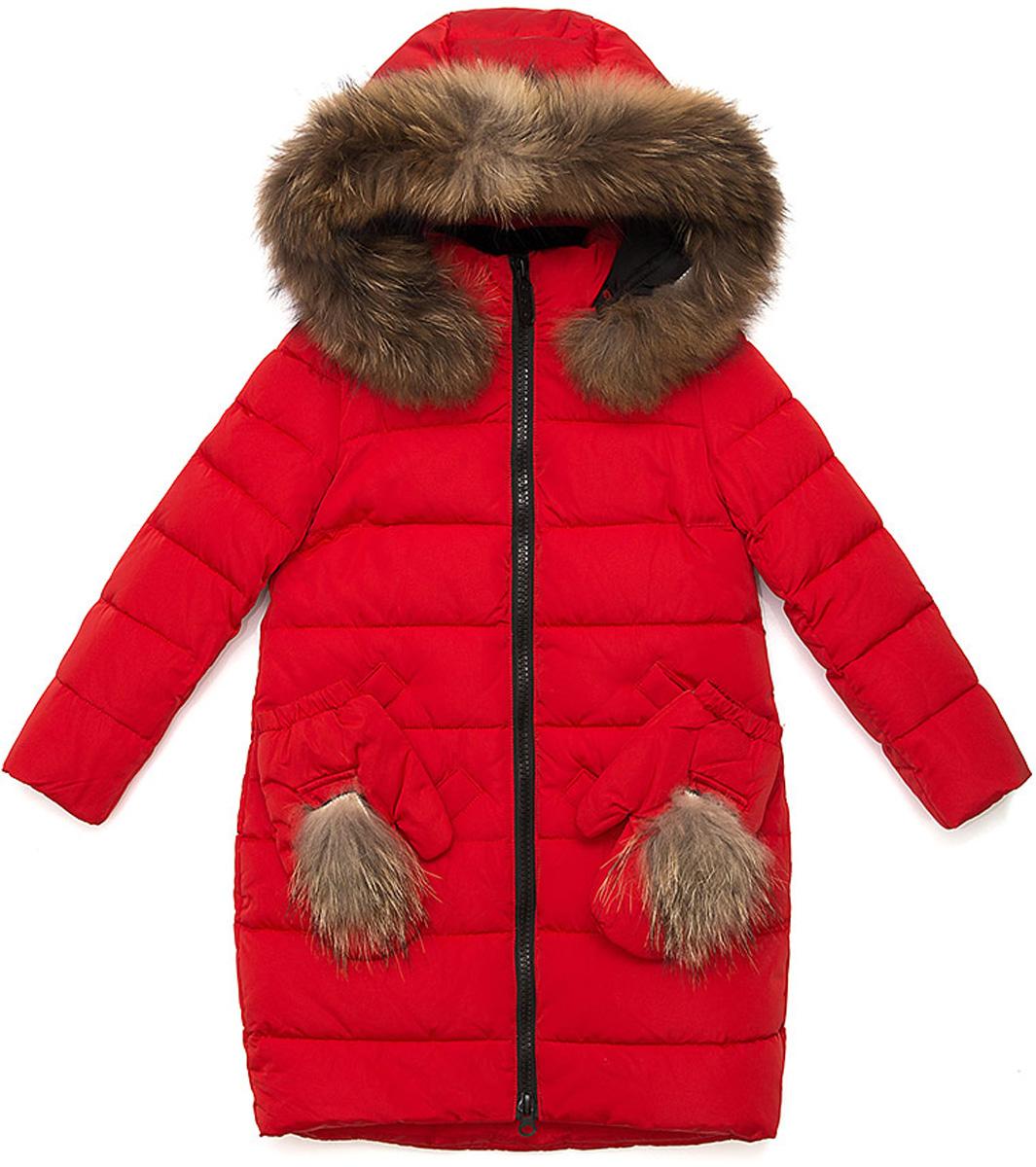 Куртка для девочки Vitacci, цвет: красный. 2171475-05. Размер 1282171475-05Удлиненная куртка для девочки Vitacci, изготовленная из полиэстера, станет стильнымдополнением к детскому гардеробу.Подкладка выполнена из полиэстера и дополнительно утеплена флисом по спинке. В качестве утеплителя используется биопух.Модель застегивается на застежку-молнию и имеет съемный капюшон с отделкой из натурального меха. Спереди расположены два кармана, украшенные съемными варежками с меховым помпоном.Температурный режим от -10°С до -25°С.Теплая, удобная и практичная куртка идеально подойдет юной моднице для прогулок!