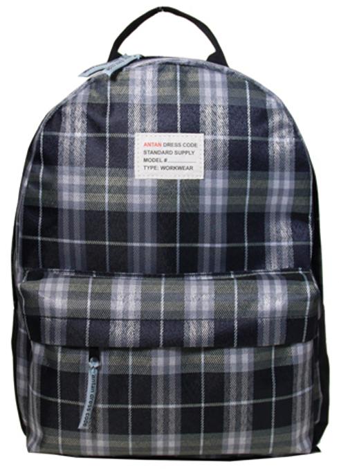 """Рюкзак женский Antan """"Текстиль клетка"""", цвет: серый, синий. 6007"""
