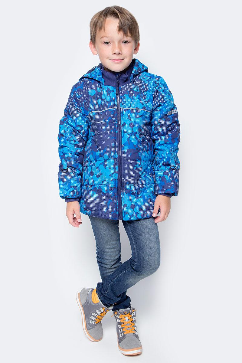 Куртка для мальчика PlayToday, цвет: синий, голубой. 371151. Размер 128371151Теплая куртка PlayToday, выполненная из ткани с водоотталкивающей пропиткой, - отличное решение для холодной погоды. Капюшон на кнопках, при необходимости его можно отстегнуть. Контур капюшона на регулируемом шнуре-кулиске. Куртка на молнии. Специальный карман для бегунка не позволит застежке травмировать нежную детскую кожу. Светоотражающие элементы обеспечат видимость ребенка в темное время суток. Подкладка из мягкого флиса. Куртка дополнена снегозащитной юбкой. Вшивные трикотажные манжеты для дополнительного сохранения тепла. На рукавах предусмотрены специальные кольца для перчаток. Воротник-стойка из плотного трикотажа не вызывает неприятных ощущений.