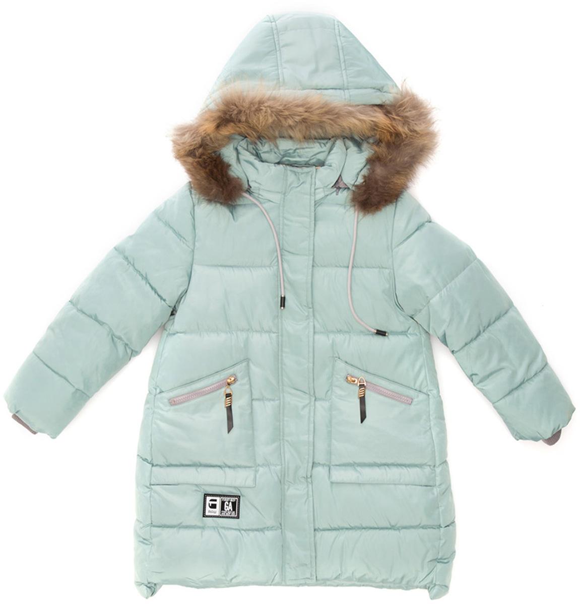 Куртка для девочки Vitacci, цвет: мятный. 2171477-32. Размер 1462171477-32Удлиненная куртка для девочки Vitacci, изготовленная из полиэстера, станет стильнымдополнением к детскому гардеробу.Подкладка выполнена из полиэстера и дополнительно утеплена флисом по спинке. В качестве наполнителя используется биопух.Модель застегивается на застежку-молнию. Имеются съемный капюшон с опушкой из натурального меха и ветрозащитная планка. Спереди расположены два кармана на молнии.Температурный режим от -10°С до -25°С.Теплая, удобная и практичная куртка идеально подойдет юной моднице для прогулок!