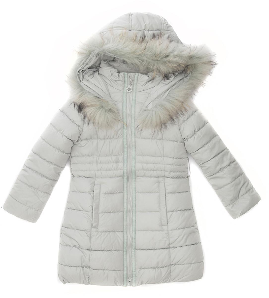Куртка для девочки Vitacci, цвет: серый. 2171479-02. Размер 1462171479-02Удлиненная куртка-пальто для девочки Vitacci, изготовленная из полиэстера, станет стильнымдополнением к детскому гардеробу.Подкладка выполнена из полиэстера и дополнительно утеплена флисом по спинке. В качестве наполнителя используется биопух.Модель застегивается на застежку-молнию и имеет съемный капюшон с опушкой из натурального меха. Спереди расположены два кармана.Температурный режим от -10°С до -25°С.Теплая, удобная и практичная куртка идеально подойдет юной моднице для прогулок!