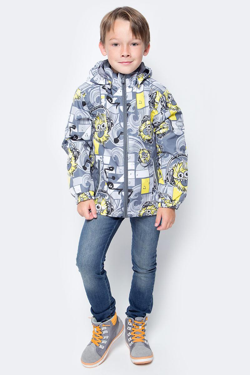 Куртка для мальчика Huppa Jody, цвет: серый, белый, желтый. 17000004-73148. Размер 11617000004-73148Куртка с подкладкой для мальчика Huppa c длинными рукавами, воротником-стойкой и съемным капюшоном, выполнена из высококачественного водонепроницаемого и ветрозащитного материала на основе полиэстера. Модель застегивается на застежку-молнию с защитой подбородка спереди. Изделие имеет два прорезных кармана на застежках-молниях. Манжеты рукавов собраны на внутренние резинки. Модель оформлена оригинальным контрастным принтом. На изделии имеются светоотражательные элементы для безопасности в темное время суток.