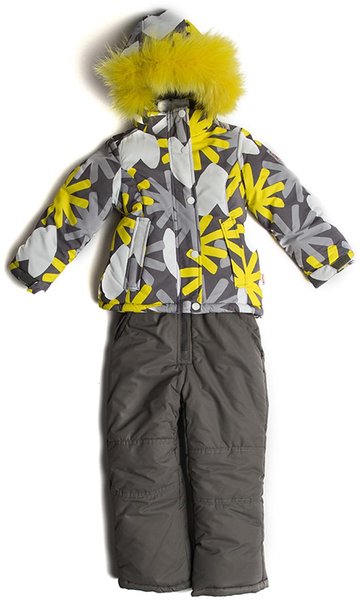 Комплект верхней одежды для девочки Vitacci: куртка, брюки, цвет: желтый, серый. 2171481-14. Размер 982171481-14Комплект для девочки Vitacci включает в себя куртку и брюки. Куртка с длинными рукавами и капюшоном выполнена из нейлона. Капюшон на куртке съемный, с отделкой из натурального цветного меха. Подкладка изготовлена из полиамида и утеплена флисом. Модель застегивается на застежку-молнию и имеет внешнюю ветрозащитную планку на кнопках. Спереди расположены два кармана. Теплые брюки с двумя боковыми карманами застегиваются на молнию.Температурный режим от -10°С до -20°С.