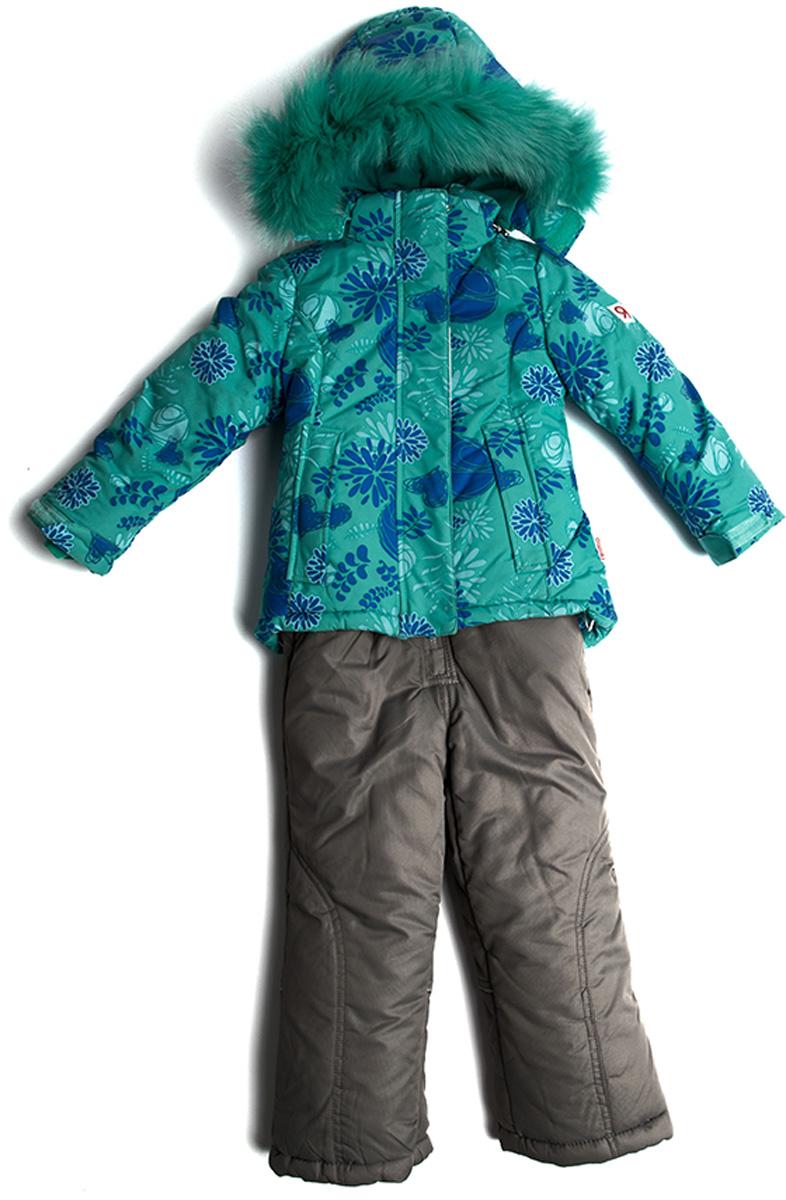 Комплект одежды для девочки Vitacci: куртка, брюки, цвет: зеленый. 2171483-06. Размер 922171483-06Костюм для девочки курточка и брючки. Капюшон на куртке съемный, отделка из натурального цветного меха. Подкладка на утеплена флисом. Температурный режим от -10°С до -20°С