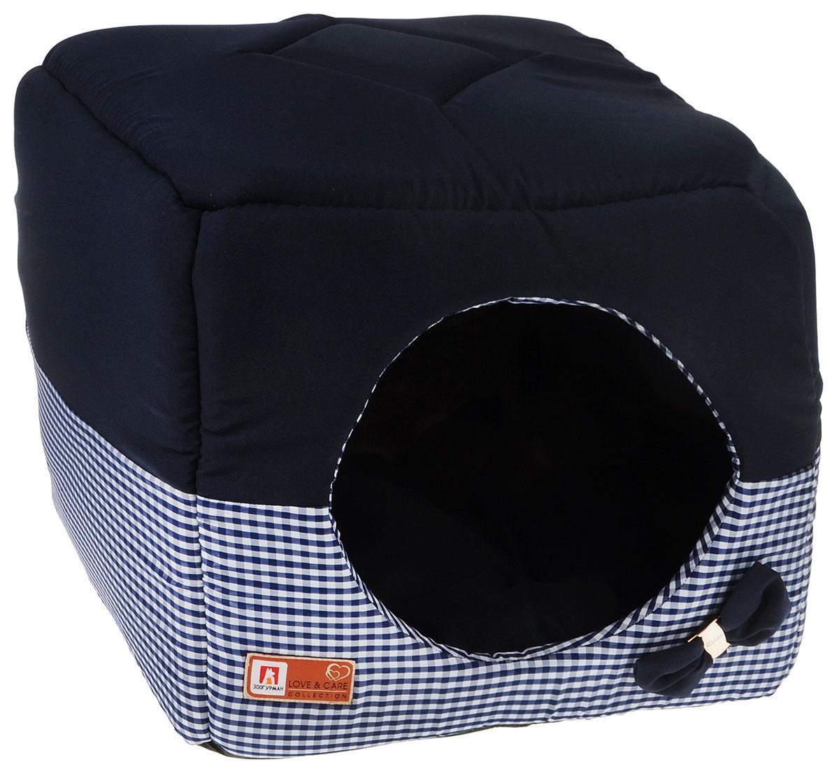 Лежак для собак и кошек Зоогурман Домосед, цвет: синий, 45 х 45 х 45 см зоогурман консервы для собак зоогурман спецмяс деликатес желудочки куриные 250 г