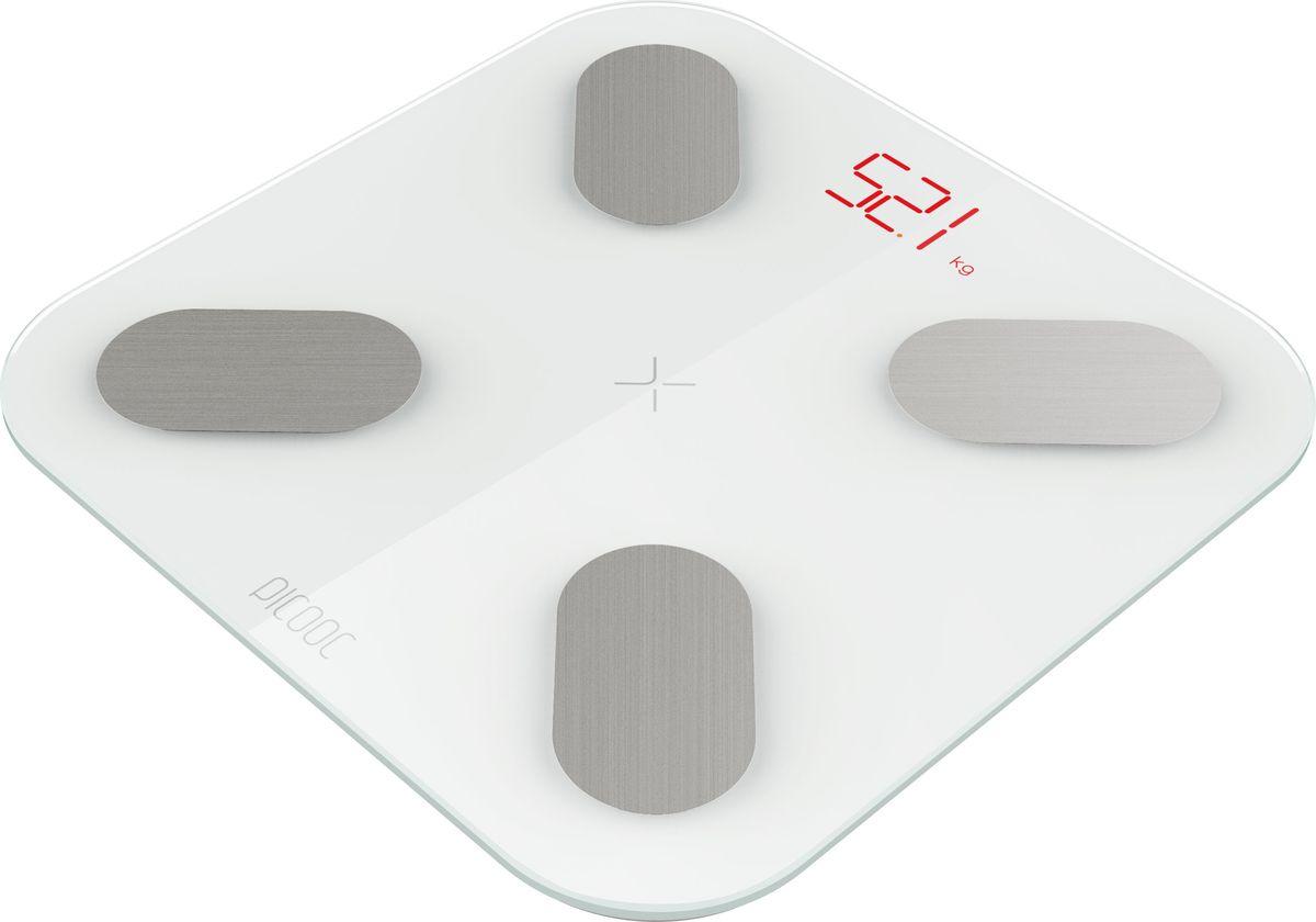 Умные весы Picooc mini, диагностические, цвет: белый6924917717124Picooc mini - компактные умные весы. Они синхронизируются с мобильным устройством при помощи Bluetooth Smart, а мобильное устройство в свою очередь синхронизирует данные с облачным сервисом производителя. Весы определяют 11 параметров: вес, ИМТ, общий процент содержания жировых тканей, процент висцерального жира, белка, базальный метаболизм, мышечная масса, костная масса, процент содержания воды, тип телосложения, биологический возраст. В приложении также реализован функционал для отслеживания изменений в обхвате талии, различные алгоритмы анализа состава тела в зависимости от рассовых особенностей.Продуманное и удобное собственное приложение на русском языке.Возможность постановки цели, советы по достижению, анализ здоровья.Подключение к смартфону по Bluetooth 4.0 и синхронизация с облаком.Совместимость с Health экосистемами производителей смартфонов.Прочное закаленное стекло 5 мм, скрытый светодиодный дисплей.Неограниченное количество пользователей и автораспознавание.Питание: аккумуляторы/батарейки AAA х 3 шт.Совместимость с устройствами: iOS 7.0 и выше, Android 4,3 и выше.Диапазон веса 8 - 150 кг.Компактный размер 26 х 26 х 2 см.
