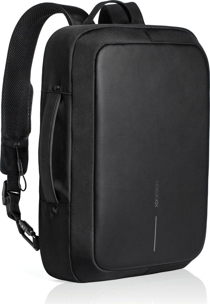 Рюкзак для ноутбука XD Design Bobby Bizz, до 15,6, цвет: черныйP705.571Рюкзак для ноутбука до 15,6 XD Design Bobby Bizz выполнен из полиэстера и пропилена. Быстрая трансформация из делового рюкзака и портфель, при этом лямки прячутся в специальные кармашки. Система защиты от краж дополнена тросом, встроенным в правую лямку, и кодовым замком, благодаря чему рюкзак можно пристегнуть почти к любому объекту, а замком можно так же блокировать молнию. Уникальная концепция позволяет открывать рюкзак под тремя разными углами: 30°, 90°, 180°. Металлический каркас по периметру сохранит форму рюкзака и защитит его содержимое.Особенности:BR> Полная защита от карманников: не открыть, не порезать;USB-порт для зарядки гаджетов;Легкая трансформация из рюкзака в портфель;Светоотражающие полосы;Отделение для ноутбука до 15.6;Отделение для планшета до 10;Прочный но легкий металлический каркас; Встроенный в лямку стальной трос и кодовый замок.Размеры: 44,5 х 31 х 10 см.Вес: 1300 г.