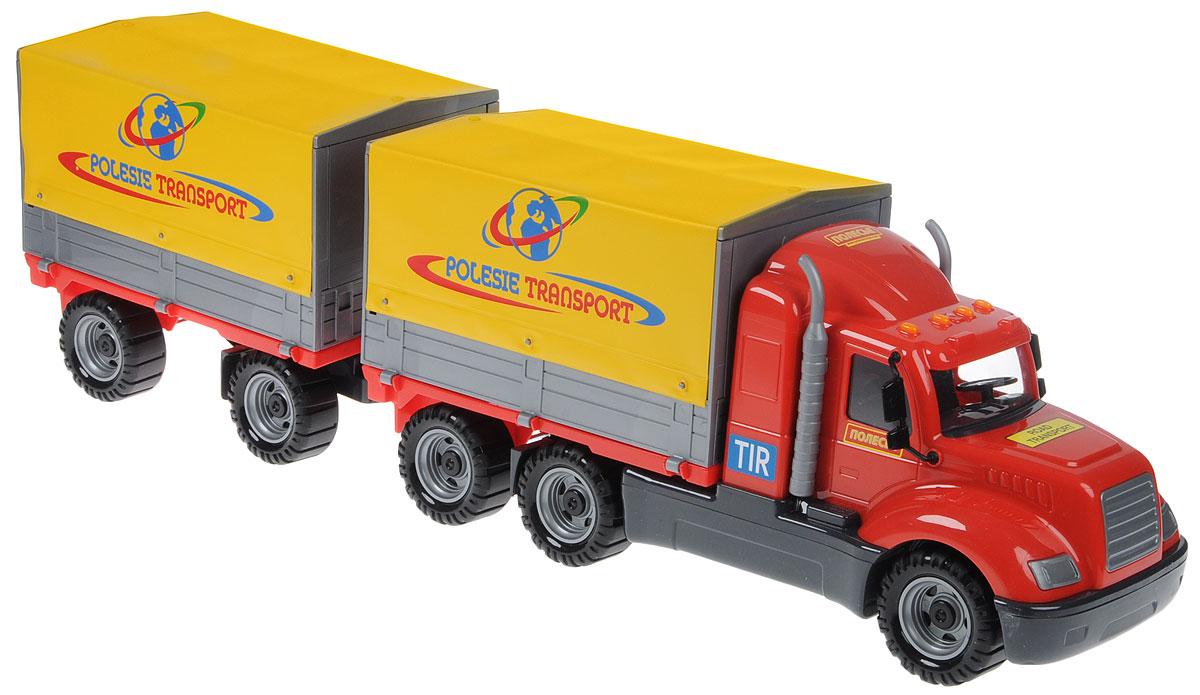 Полесье Грузовик бортовой тентовый с прицепом Майк цвет красный желтый игрушечная машинка грузовик с подъемным боковым тентом amico