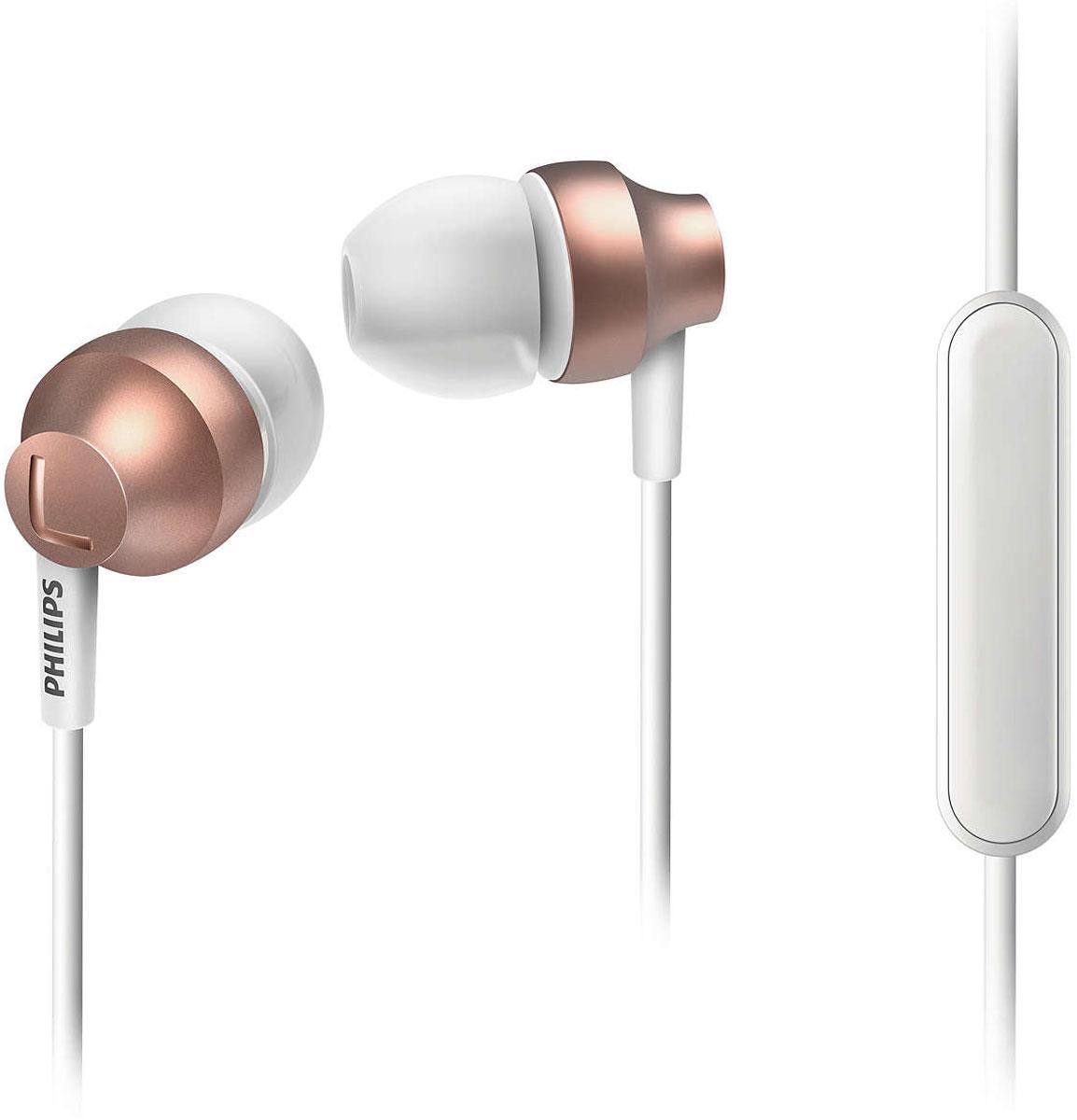 Philips SHE3855, Rose Gold наушникиSHE3855RG/00Стильные и удобные наушники-вкладыши Philips Chromz (SHE3855) с превосходным дизайном обеспечивают воспроизведение насыщенных басов. Цвета матовой отделки, выполненной методом вакуумной металлизации, соответствуют цветам iPhone 6s. В комплект входят насадки 3 размеров (маленькие, средние и большие), чтобы вы могли выбрать подходящий вариант для себя.Благодаря встроенному микрофону можно легко переключаться между режимами разговора и прослушивания музыки, чтобы всегда оставаться на связи.Качественная матовая отделка, выполненная методом вакуумной металлизации, обеспечивает дополнительную защиту.Эргономичная овальная звуковая трубка обеспечивает максимально комфортную посадку, подстраиваясь под форму уха.Ультракомпактные наушники с удобной посадкой полностью заполняют ушную раковину и заглушают внешние звуки.Компактные наушники-вкладыши Philips Chromz (SHE3855) с удобной посадкой и мощными излучателями обеспечивают чистый звук и мощный бас.Мягкий резиновый сгиб предотвращает повреждение контактов при многократном сгибании кабеля и продлевает срок службы наушников.