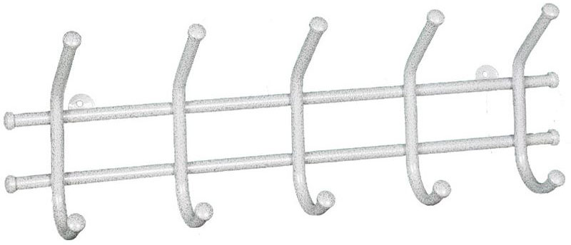 Вешалка настенная ЗМИ Норма 5, с 5 крючками, цвет: белое серебро, 48 х 8 х 16,5 см вешалка настенная с 5 крючками agama