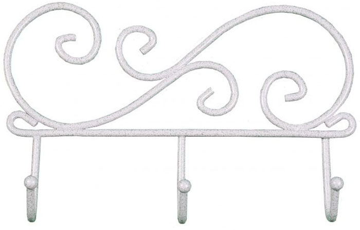 Вешалка настенная ЗМИ Кружева, с 3 крючками, цвет: белый, серебристый, 20 х 4 х 13 см вешалка настенная с 5 крючками agama