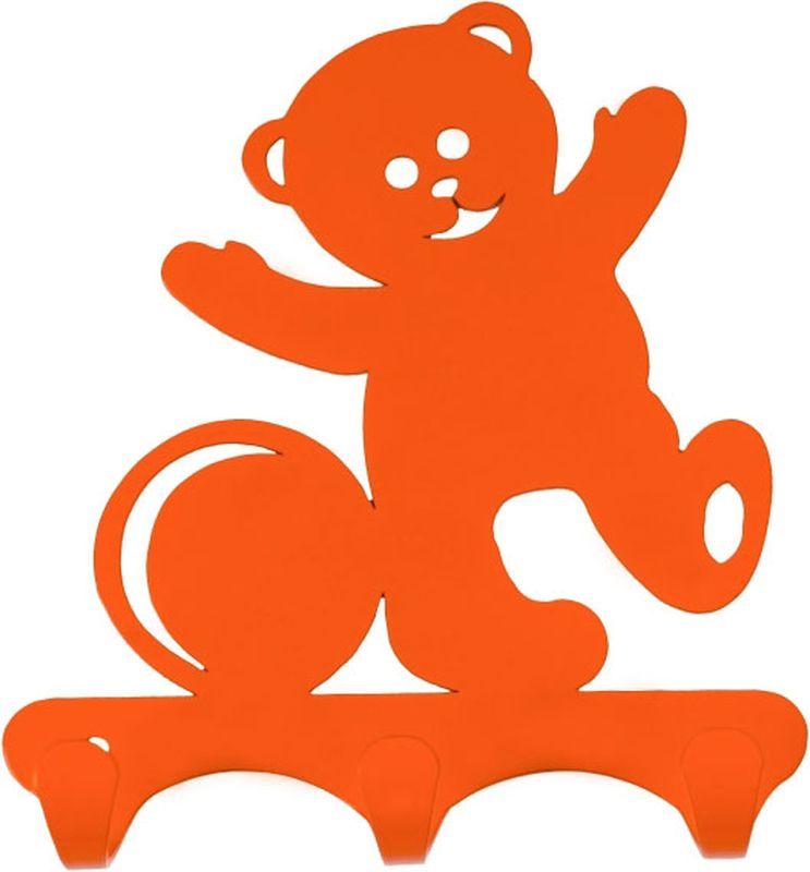 Вешалка настенная ЗМИ Мишка, с 3 крючками, цвет: оранжевый, 11,5 х 2,6 х 13 смВН 306 ОРНастенная вешалка ЗМИ Мишка изготовлена из прочной стали с полимерным покрытием. Изделие оснащено 3 крючками для одежды. Вешалка крепится к стене при помощи двух шурупов (не входят в комплект).