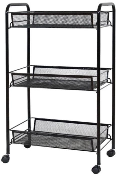 Этажерка ЗМИ  Ладья 2К , 3-ярусная, цвет: черный, 44 х 25 х 73,5 см - Товары для хранения