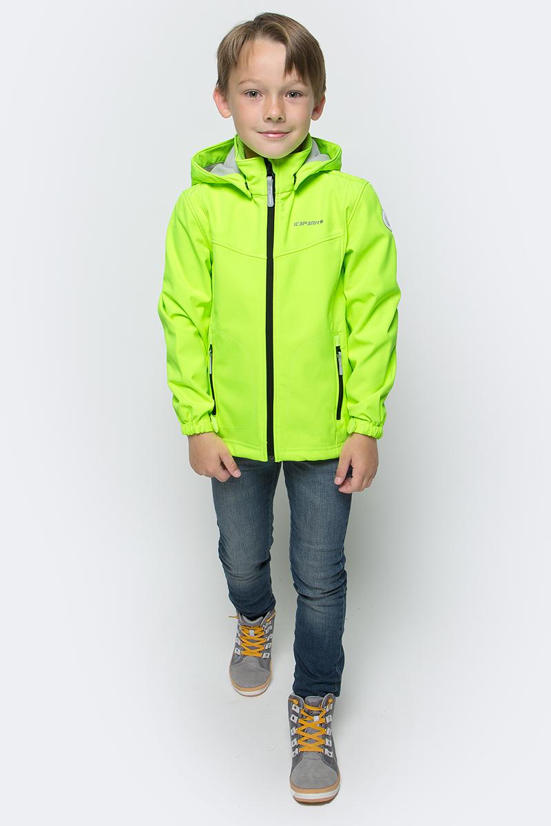 Куртка для мальчика Icepeak, цвет: ярко-салатовый. 751809682IVT_881. Размер 152751809682IVT_881Куртка для мальчика Icepeak выполнена из качественного материала. Модель с длинными рукавами застегивается на застежку-молнию. Изделие дополнено съемным капюшоном и двумя врезными карманами на молниях.