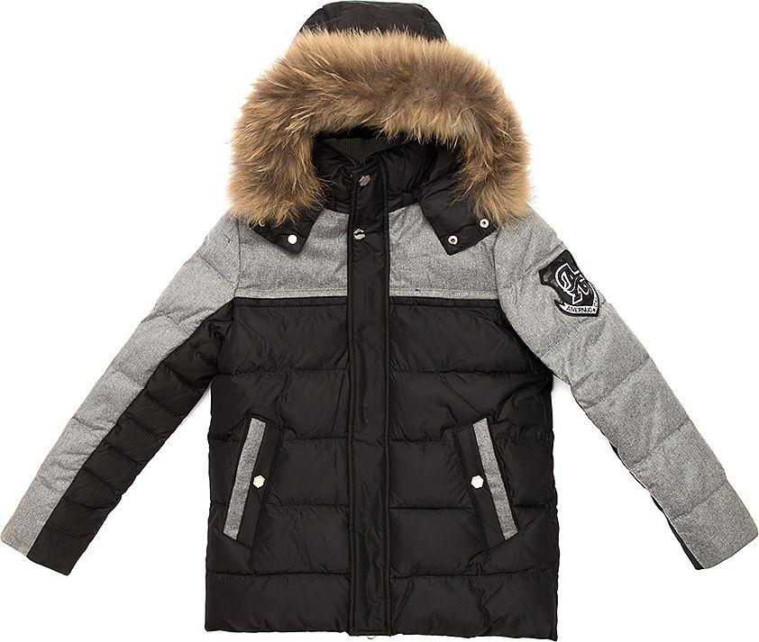 Куртка для мальчика Vitacci, цвет: черный. 1171484-03. Размер 1301171484-03Удлиненная куртка для мальчика Vitacci, изготовленная из полиэстера, станет стильнымдополнением к детскому гардеробу.Подкладка выполнена из полиэстера и дополнительно утеплена флисом по спинке. В качестве наполнителя используется биопух.Куртка застегивается на пластиковую застежку-молнию и имеет внешнюю ветрозащитную планку, а также съемный капюшон с отделкой из натурального меха. Изделие оформлено декоративными элементами и нашивками.Температурный режим от -10°С до -25°С.Теплая, удобная и практичная куртка идеально подойдет юному моднику для прогулок!