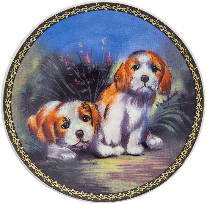 Тарелка декоративная Elan Gallery Забавные щенки, диаметр 10 см сувениры религиозные elan gallery тарелка декоративная пресвятая богородица владимирская