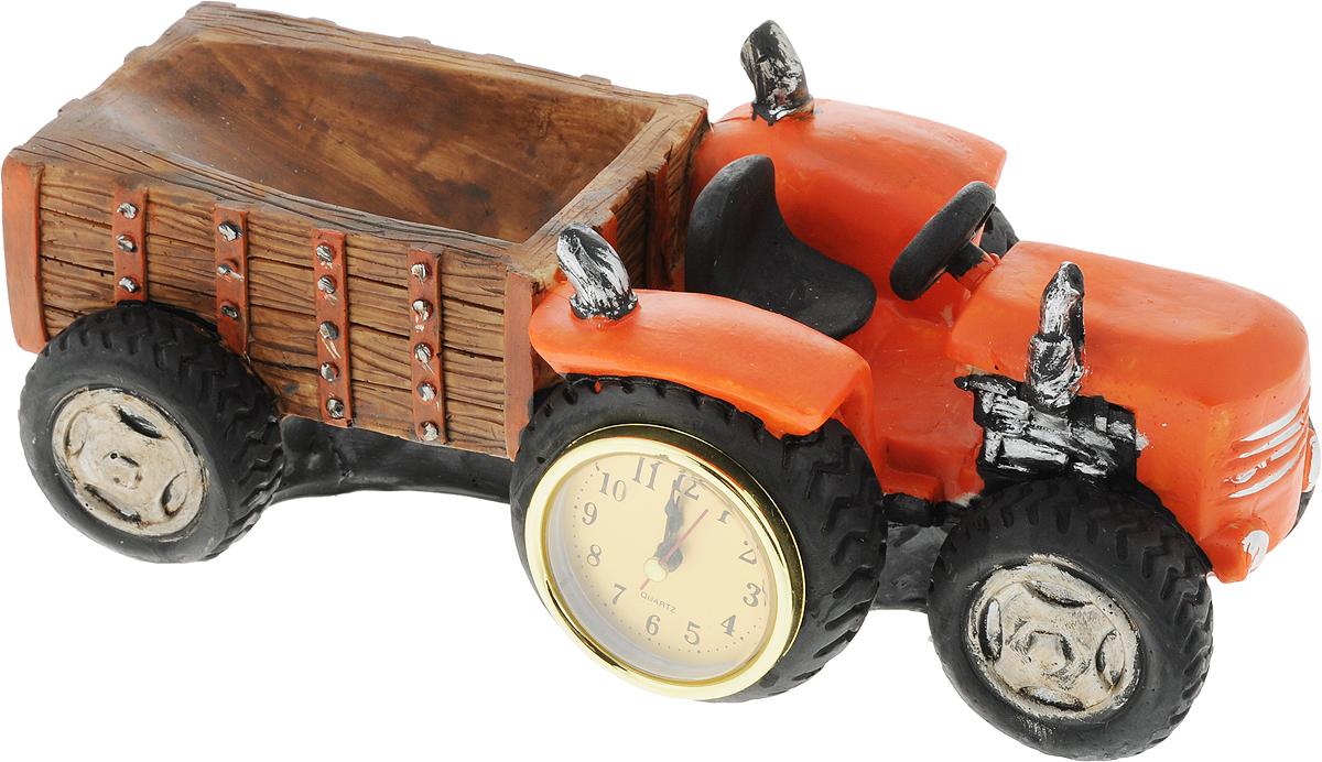Подставка для вина Drivemotion Трактор, 30 х 14 х 11,5 смwh_16Подставка для вина Drivemotion Трактор, изготовленная из высококачественного полистоуна, порадует вас и ваших гостей своим великолепным дизайном и яркими красками. Подставка выполнена в виде трактора с телегой, в колесо которого вмонтированы круглые часы. Бутылка кладется в телегу трактора. Поместите винную бутылку в эту красивую подставку, и гости не только надолго запомнят ваше мероприятие, но и будут рассказывать о нем другим. Эта замечательная подставка может стать великолепным штрихом к вашему празднику. Диаметр отверстия для бутылки: 7 см.