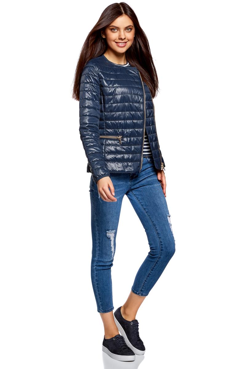 Куртка женская oodji Ultra, цвет: темно-синий. 10204057-1/33445/7900N. Размер 34-170 (40-170)10204057-1/33445/7900NЖенская куртка oodji c длинными рукавами выполнена из прочного полиамида. Модель застегивается на застежку-молнию.