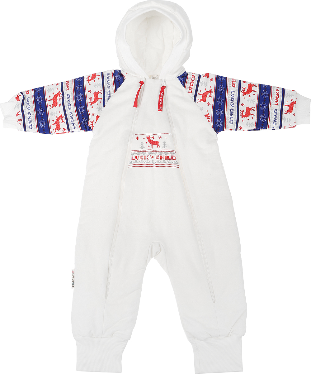 Комбинезон детский Lucky Child Скандинавия, цвет: белый, синий, красный. 10-71. Размер 74/80 комбинезон lucky child ангелочки розовый размер 24 74 80