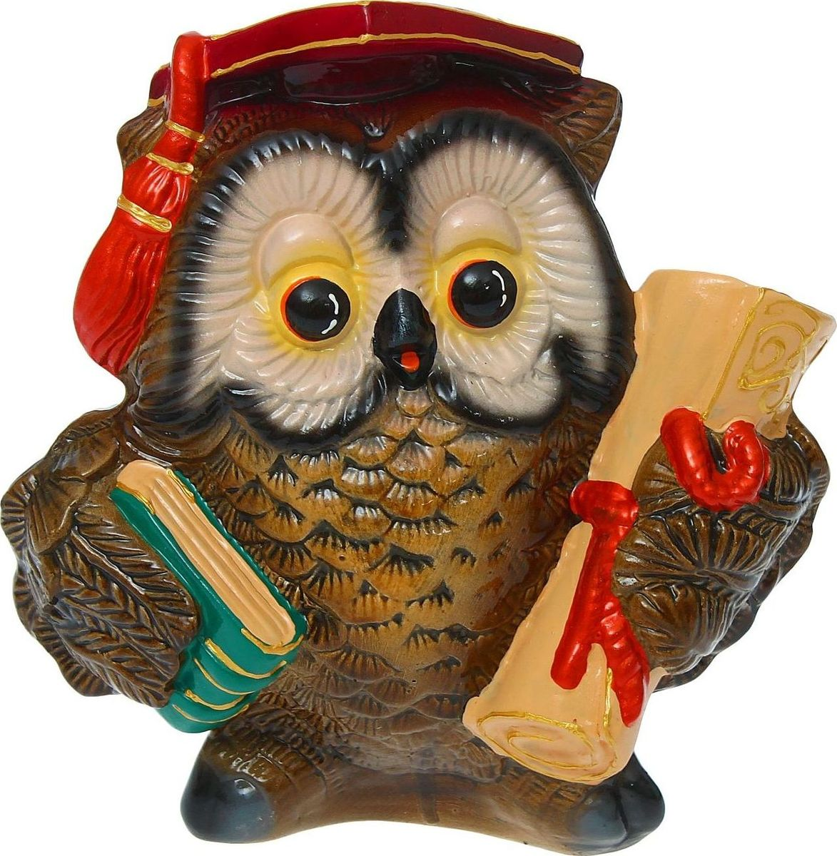 Копилка Керамика ручной работы Сова с дипломом, 14 х 22 х 25 см бумбарам копилка раскраска сова