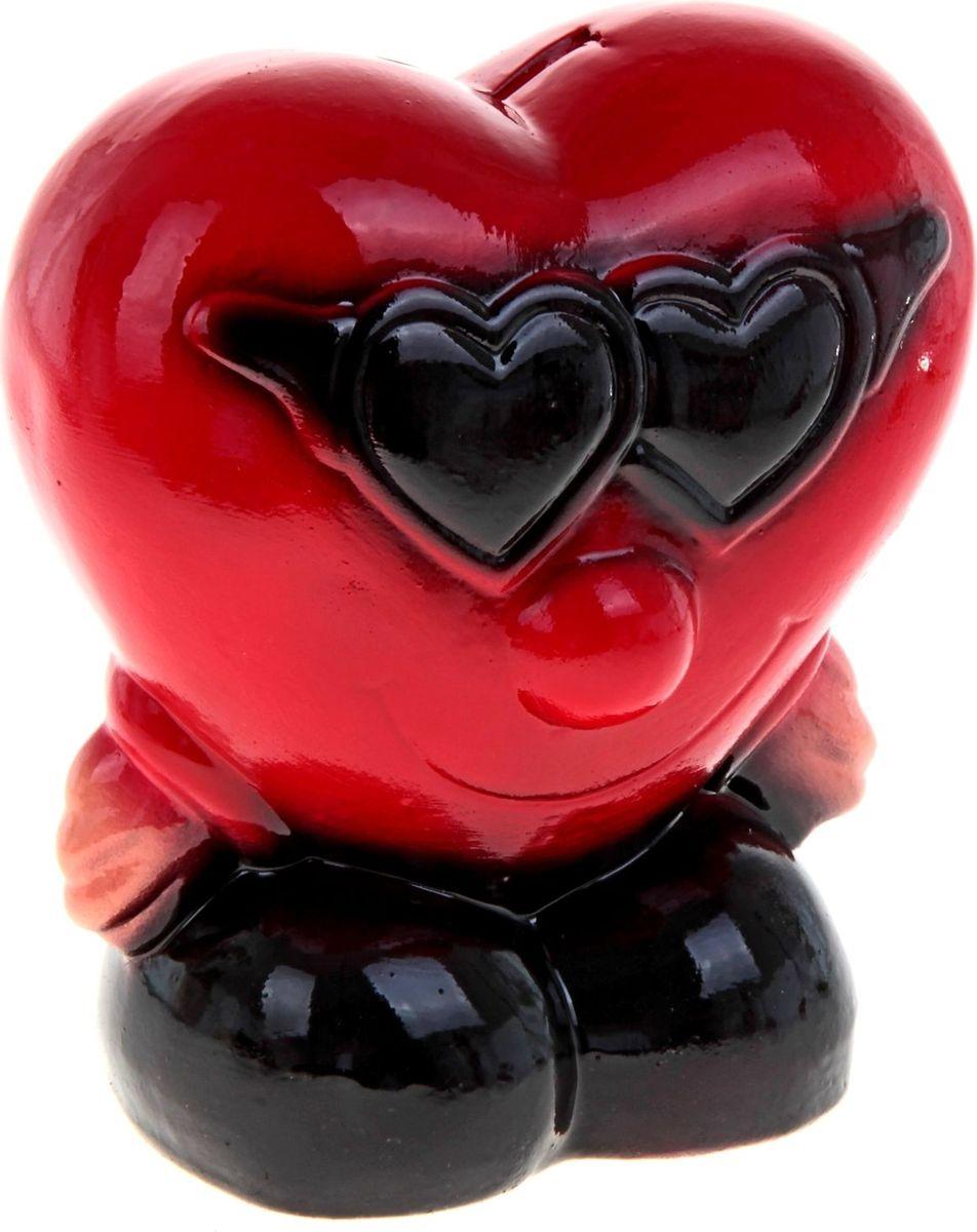 Копилка Керамика ручной работы Сердце в очках, 12 х 17 20 см