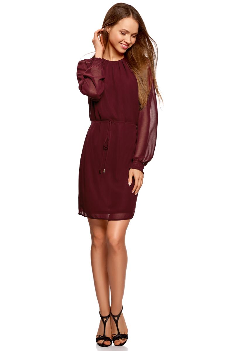 Платье oodji Ultra, цвет: бордовый. 11911021/38375/4900N. Размер 40-170 (46-170)11911021/38375/4900NПлатье от oodji выполнено из струящейся ткани. Модель с длинными рукавами и круглым вырезом горловины на спинке застегивается на пуговицу, на талии дополнена тонким поясом.