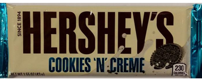 Hershey's белый шоколад с кусочками печенья, 43 г вафли обожайка вкус шоколад 225 г