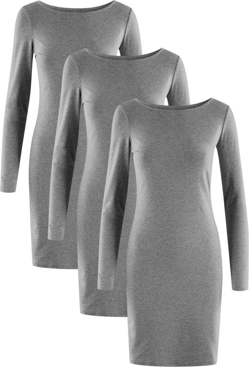 Платье oodji Ultra, цвет: темно-серый, 3 шт. 14001183T3/46148/2500M. Размер L (48)14001183T3/46148/2500MПлатье от oodji выполнено из высококачественного хлопкового трикотажа. Модель облегающего кроя с длинными рукавами и круглым вырезом горловины.В комплект входят три платья.