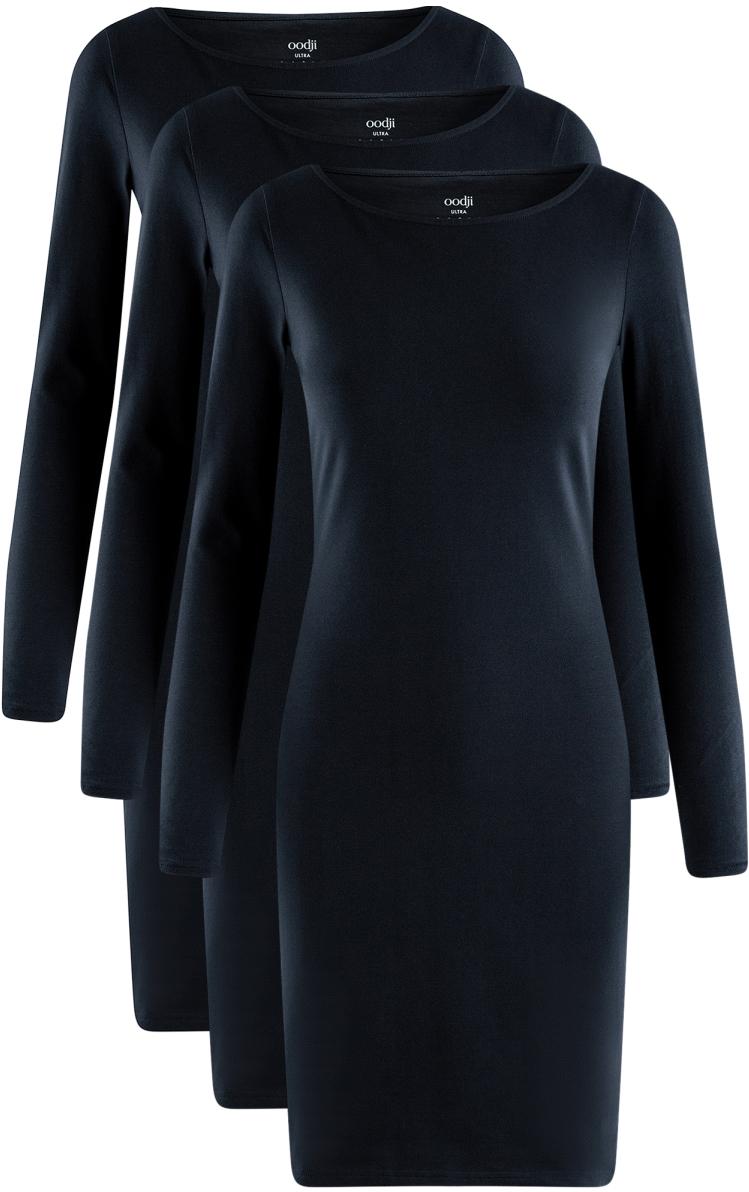 Платье oodji Ultra, цвет: темно-синий, 3 шт. 14001183T3/46148/7900N. Размер XL (50)14001183T3/46148/7900NПлатье от oodji выполнено из высококачественного хлопкового трикотажа. Модель облегающего кроя с длинными рукавами и круглым вырезом горловины.В комплект входят три платья.