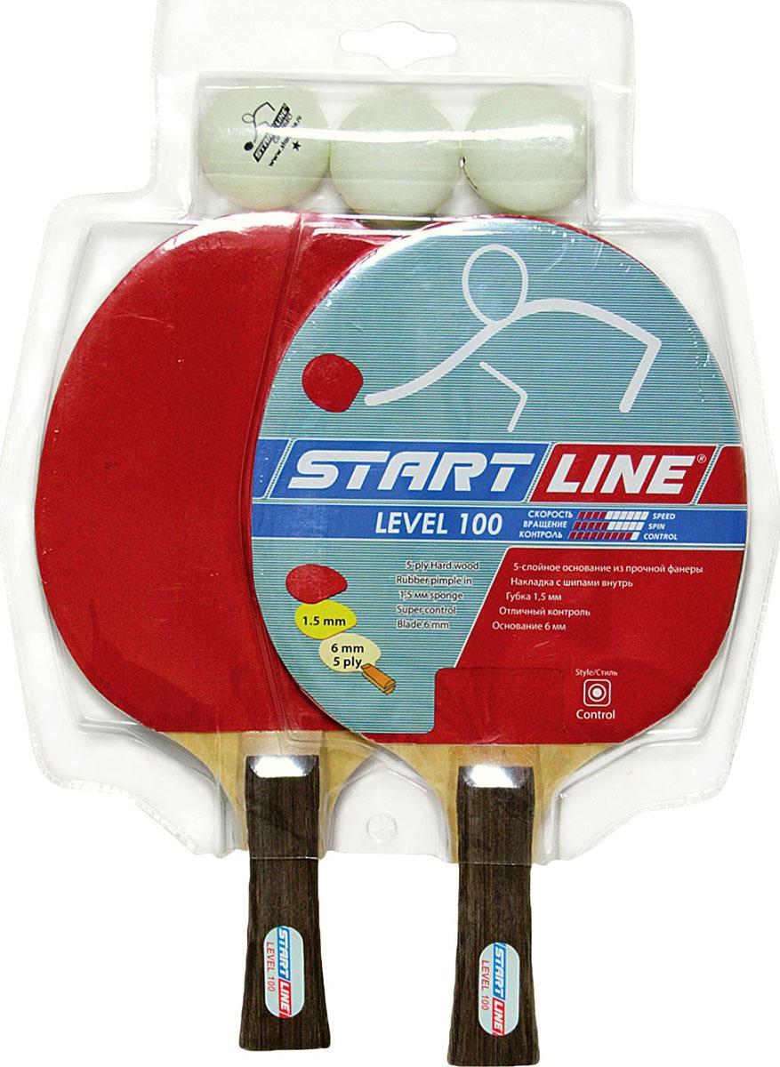 Набор для настольного тенниса StartLine, 5 предметовУТ-00004108Набор  Start Line включает в себя 2 ракетки и 3 мяча. Ракетка, изготовленная из дерева и резины, удобно лежит в руке, гарантирует хорошее чувство мяча и наиболее комфортную игру. Подходит для любителей и начинающих игроков. Такая ракетка дает возможность тренировать вращение и скорость и переходить на более высокий уровень игры. Мячи выполнены из специального облегченного материала - целлулоид. Настольный теннис - спортивная игра, основанная на перекидывании мяча ракетками через игровой стол с сеткой. Цель игры - не дать противнику отбить мяч. Игра в настольный теннис развивает концентрацию внимания, ловкость и координацию.