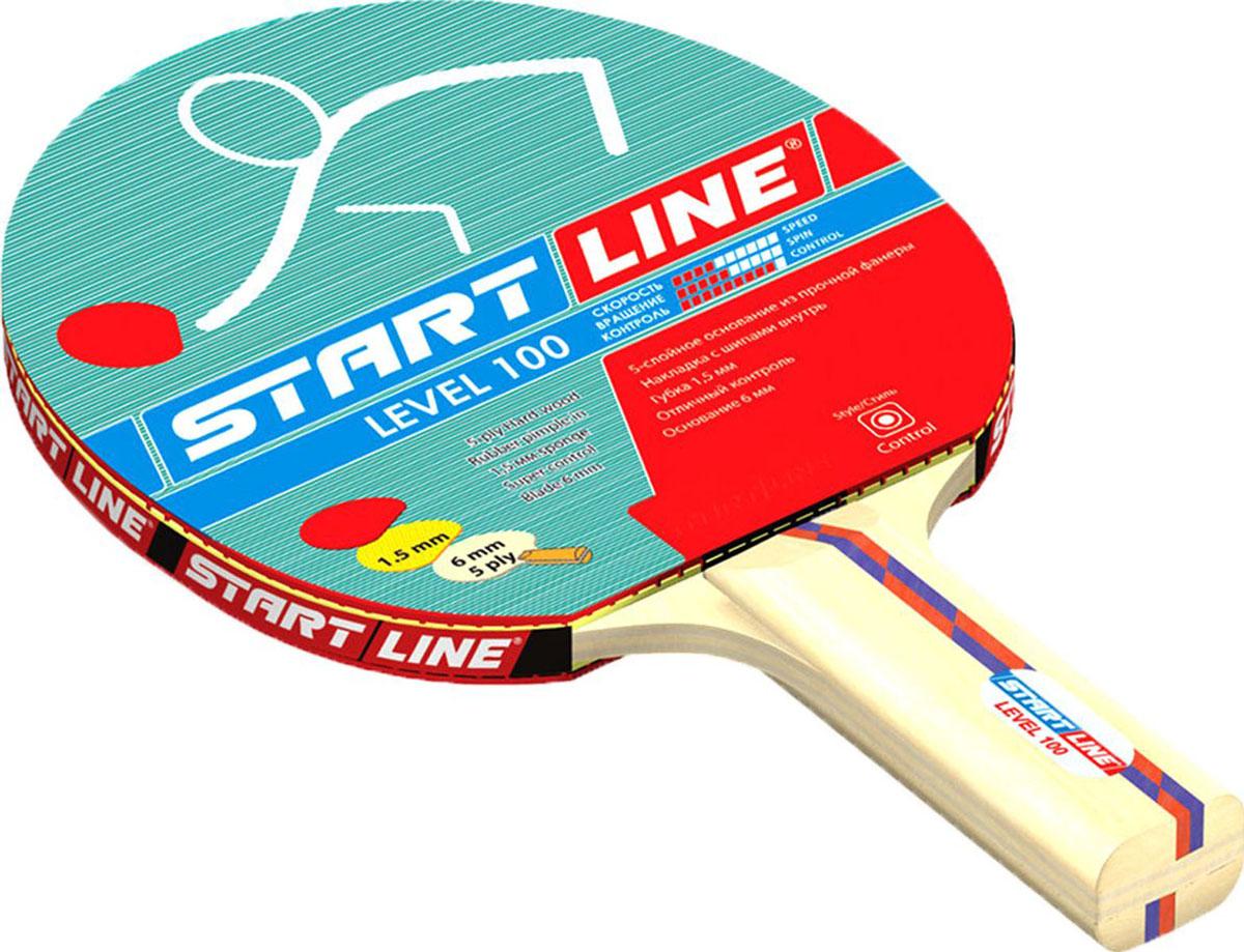 Ракетка для настольного тенниса StartLine Level 100 коническаяУТ-00004111Название: Ракетка START LINE Level100Основание: 5-слойное из прочной фанеры. 6 ммНакладка: шипами внутрьГубка: 1,5 ммРукоятка: коническая