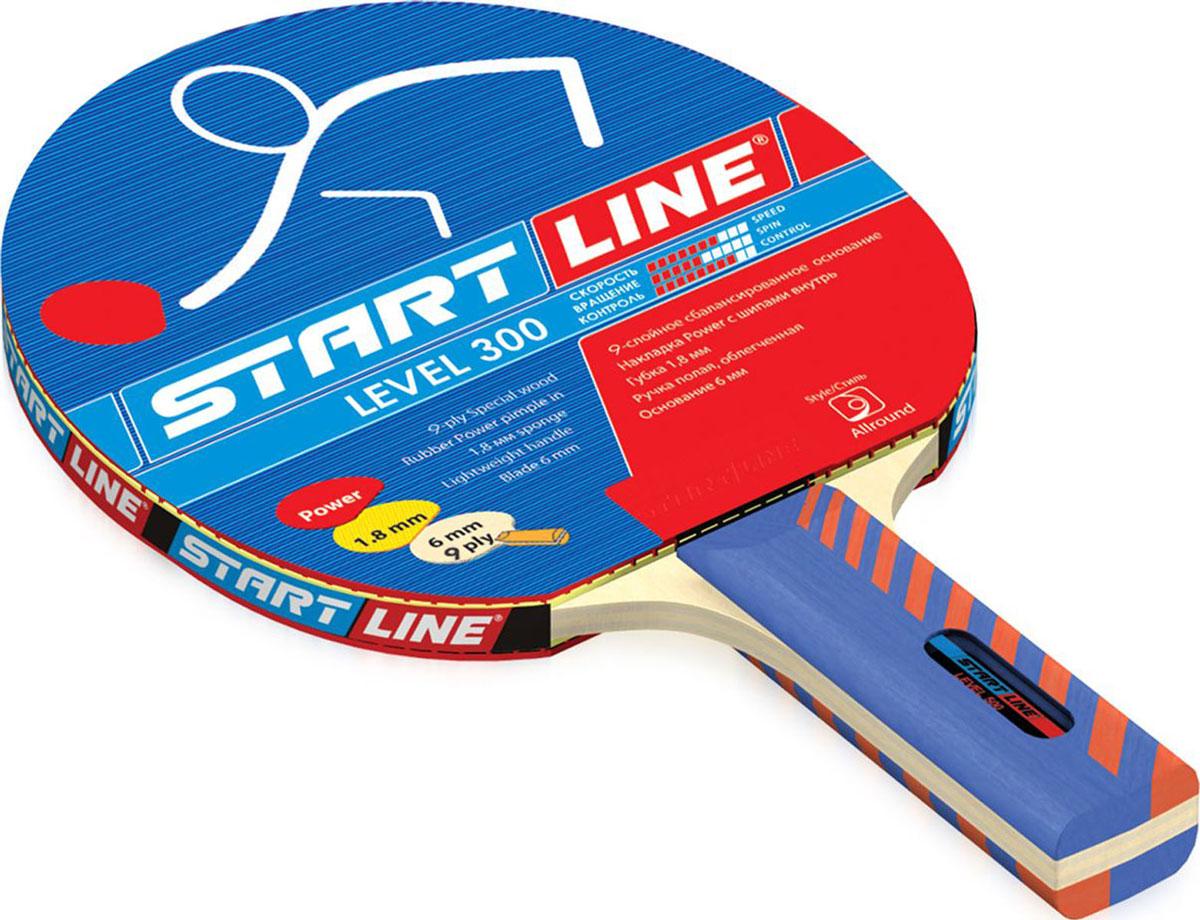 Ракетка для настольного тенниса StartLine Level 300 коническаяУТ-00004112Название: Ракетка START LINE Level300Основание: 9-слойное сбалансированное из специального шпона. 6 ммНакладка: Power шипами внутрьГубка: 1,8 ммРучка: полая, облегченная c линзойРукоятка: коническая