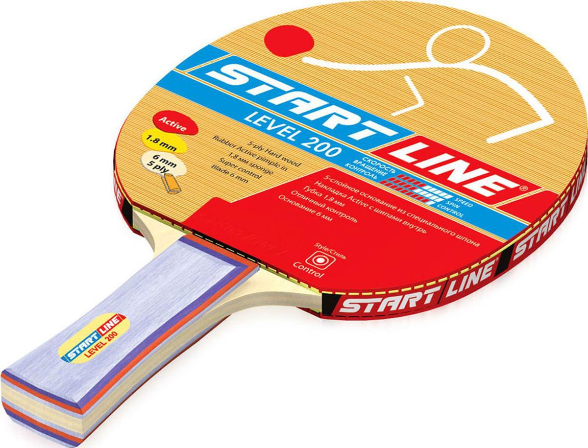 Ракетка для настольного тенниса StartLine Level 200 коническаяУТ-00004633Название: Ракетка н/т START LINE Level 200 (60311)Основание: 5-слойное сбалансированное из специального шпона. 6 ммНакладка: Active шипами внутрьГубка: 1,8 ммРукоятка: коническая